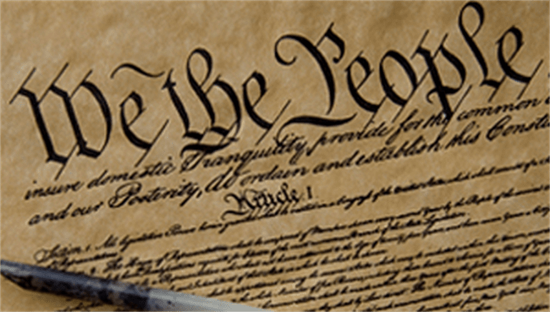US Constitution showing We The People