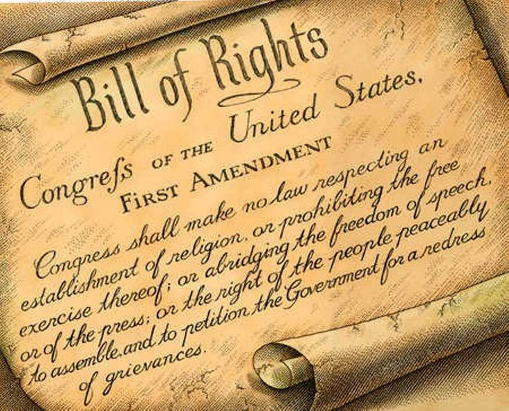 Frist Amendment section of Bill of Rights on scroll