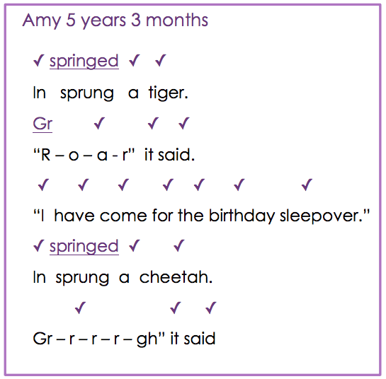 Reading miscues from Amy, 5-years, 3-months